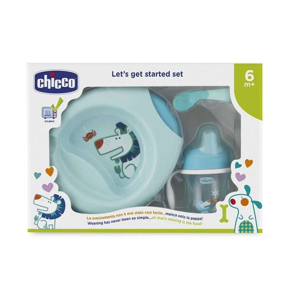 Набор детской посуды Chicco (тарелка, ложка, поильник) 6м+, голубой