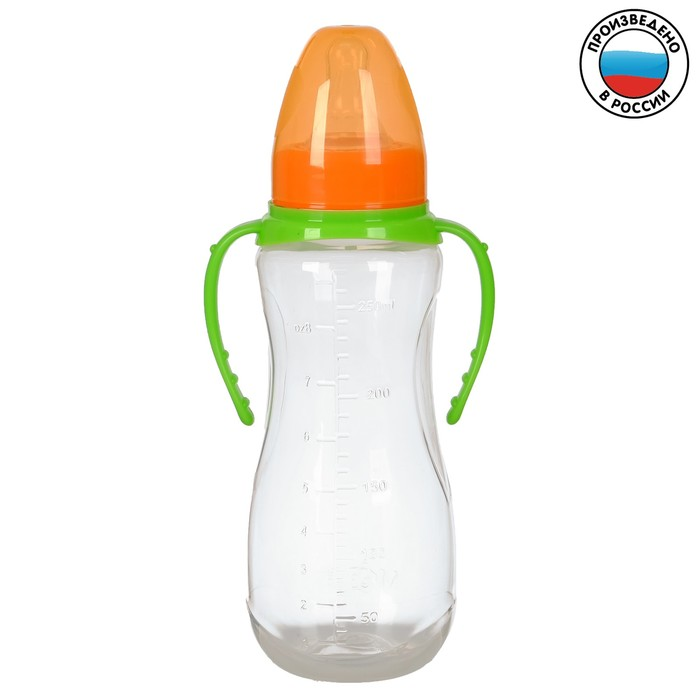 Бутылочка для кормления детская приталенная, с ручками, 250 мл, от 0 мес., цвет зелёный