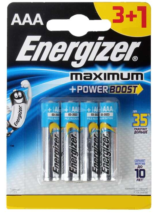 Батарейка Energizer LR03 3+1АAA Energizer MAXIMUM