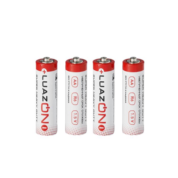 Батарейка солевая LuazON Super Heavy Duty, AA, R6, блистер, 4 шт