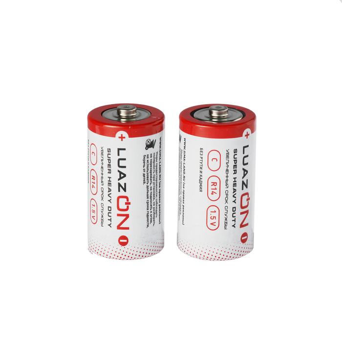Батарейка солевая LuazON Super Heavy Duty, C, R14, блистер, 2 шт