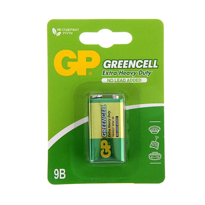 Батарейка солевая GP Greencell Extra Heavy Duty, 6F22-1BL, 9В, крона, блистер, 1 шт.