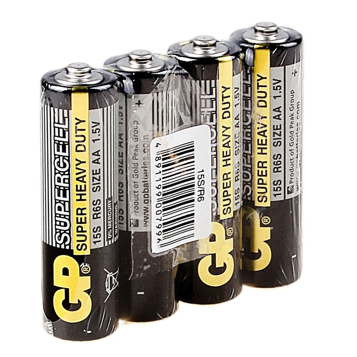 Батарейка солевая GP Supercell Super Heavy Duty, AA, R6-4S, 1.5В, спайка, 4 шт.
