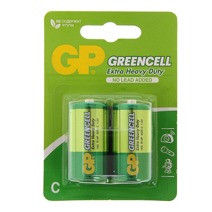 Батарейка солевая GP Greencell Extra Heavy Duty, С, R14-2BL, 1.5В, блистер, 2 шт.