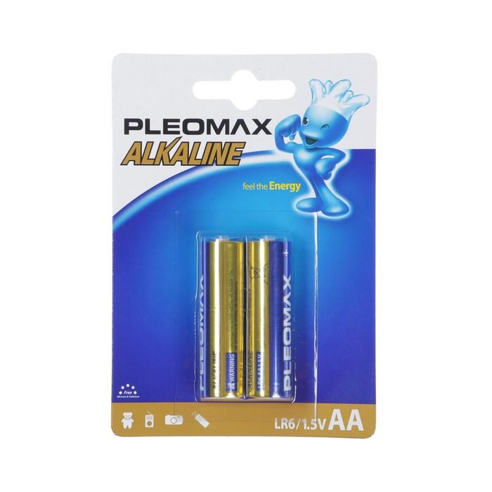 Батарейка алкалиновая Pleomax, AA, LR6-2BL, 1.5В, блистер, 2 шт.