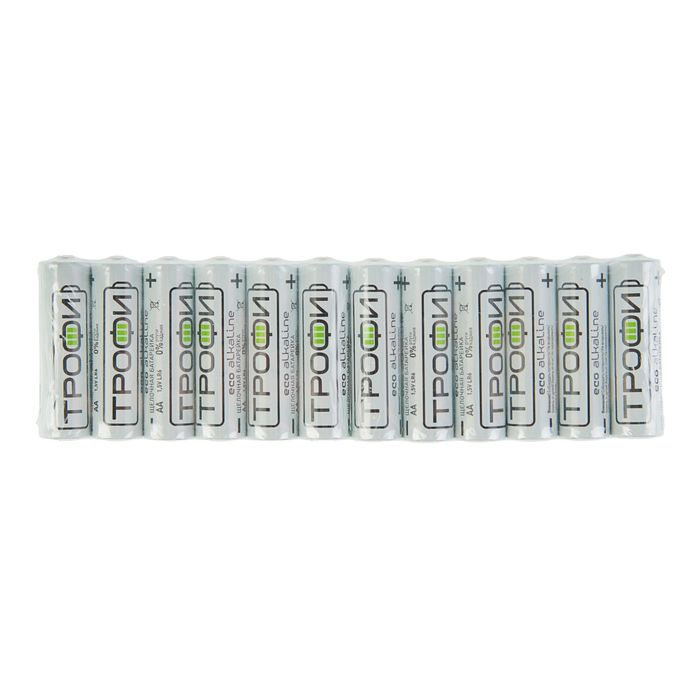 "Батарейка алкалиновая ""Трофи"" Eco, AA, LR6-12S, 1.5В, спайка, 12 шт."