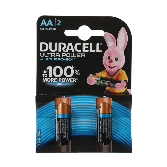 Батарейка алкалиновая Duracell Ultra Power, AA, LR6-2BL, 1.5В, 2 шт