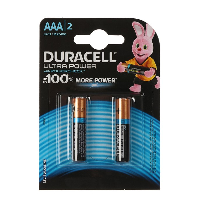 Батарейка алкалиновая Duracell Ultra Power, AAA, LR03-4BL, 1.5В, 2 шт.