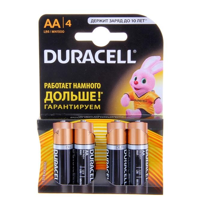 Батарейка алкалиновая Duracell Basic, AA, LR6-4BL, 1.5В, блистер, 4 шт.