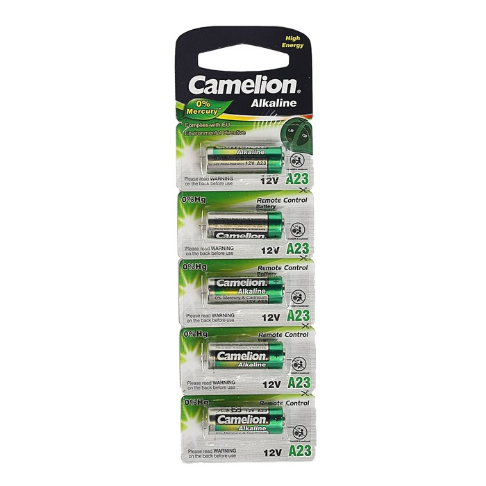 Батарейка алкалиновая Camelion Mercury Free, A23 (MN21, LR23A, LRV08)-5BL, 12В,блистер,5 шт.