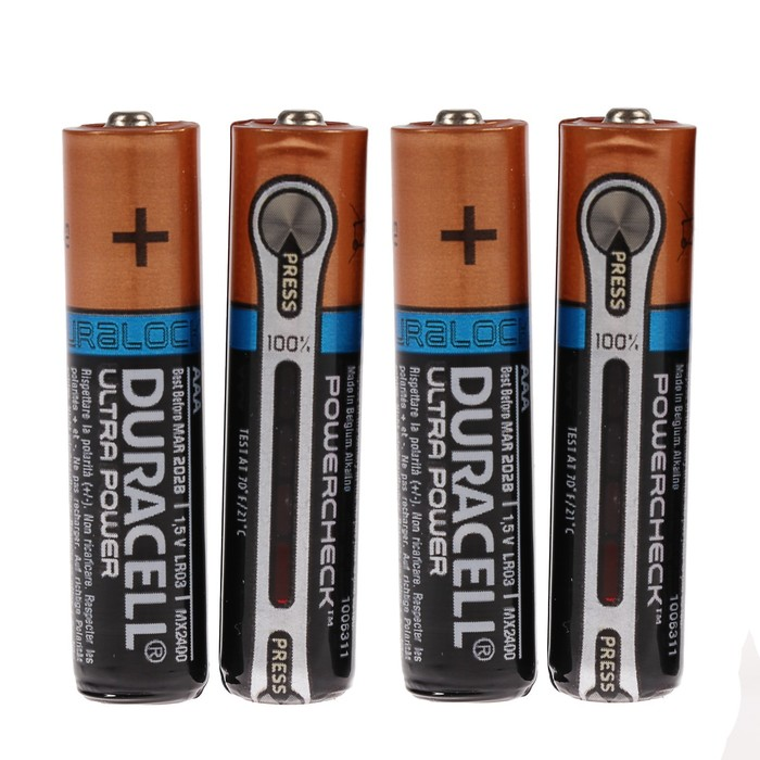 Батарейка алкалиновая Duracell Ultra Power, AAA, LR03-4BL, 1.5В, 4 шт.