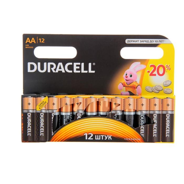 Алкалиновая батарейка Duracell, AA, LR6, блистер, 12 шт.