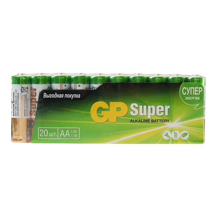 Батарейка алкалиновая GP Super, AA, LR6-20S, 1.5В, спайка, 20 шт.