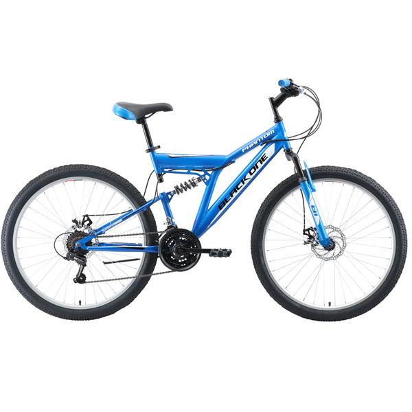 """Велосипед Black One Phantom FS 26 D голубой/чёрный/белый 18"""""""