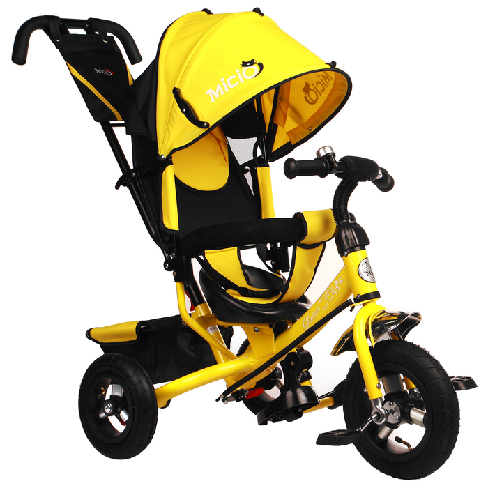 """Велосипед трёхколёсный Micio Classic Air 2019, надувные колёса 10""""/8, цвет жёлтый"""
