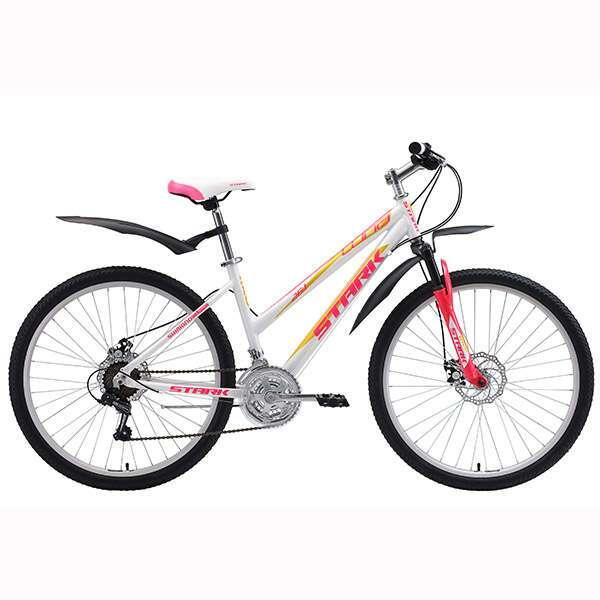 Велосипед Stark Luna 26.1 D (2018) (18'') (Белый/розовый/жёлтый)