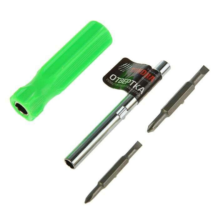 Отвертка-перевёртыш TUNDRA basic, 4 в 1, пластиковая рукоятка