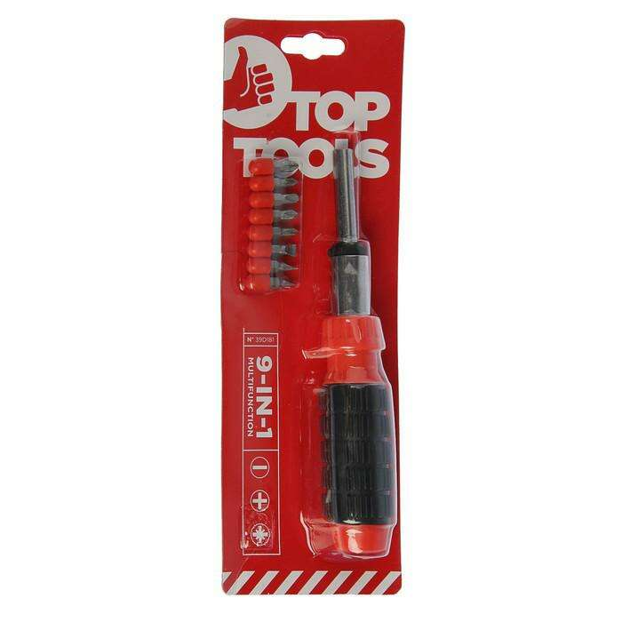 Отвертка с битами Top Tools, реверс, обрезиненная рукоятка, набор 9 шт.