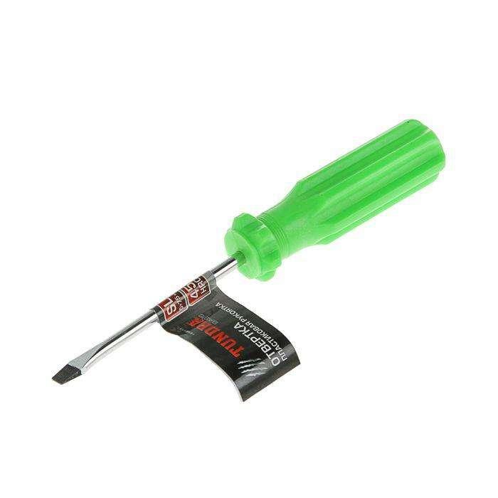 Отвертка шлицевая TUNDRA basic, SL 5х75 мм (-), обработка полировка, пластиковая рукоятка