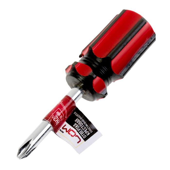 Отвертка крестовая LOM, PH2х38 мм, обработка полировка, пластиковая рукоятка