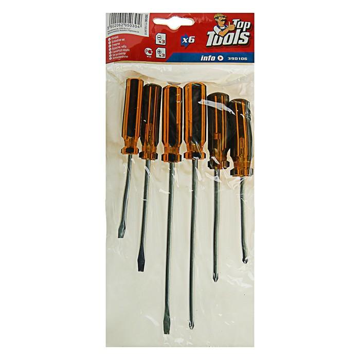 Отвёртки Top Tools, набор 6 шт, пластиковая рукоятка, 3 × SL, 3 × PH