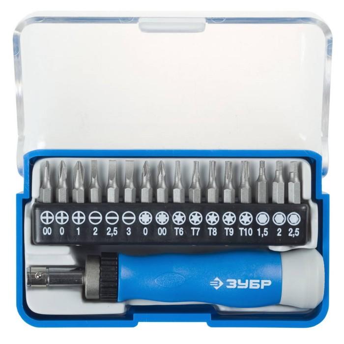 Набор ЗУБР 25626-H17, отвертка для точных работ, реверс, CR-V, сменные биты