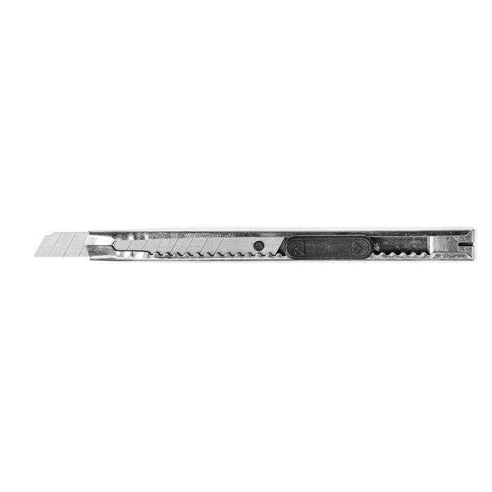 Нож универсальный LOM, корпус металл, квадратный фиксатор, усиленный, 9 мм