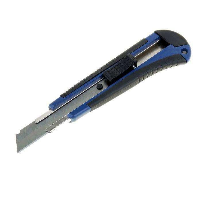 Нож универсальный TUNDRA comfort, прорезиненный корпус, квад. фиксатор, усиленный, 18 мм