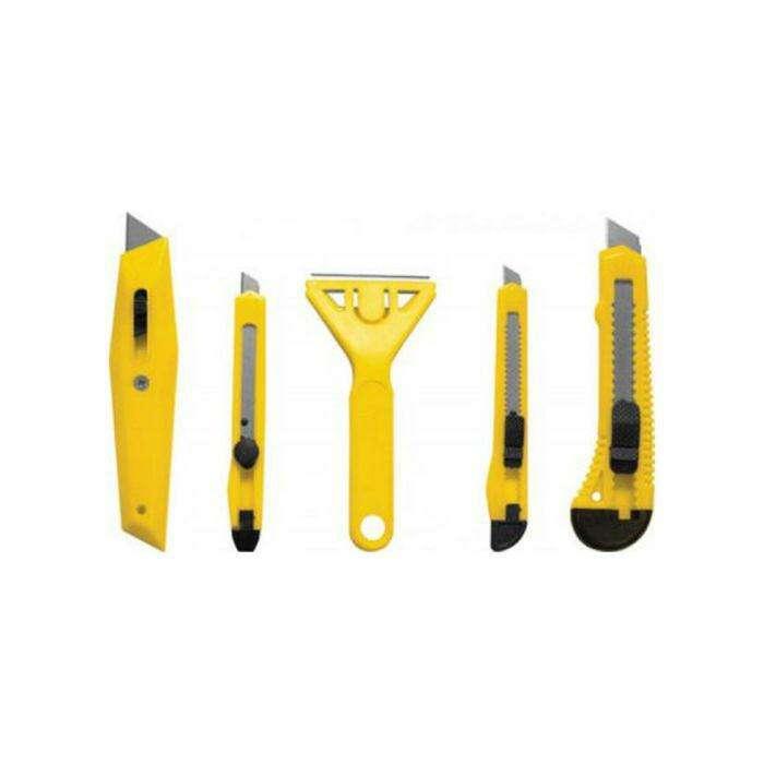 Набор ножей универсальных FIT, 5шт, ножи 9/18 мм, с трапецивидным лезвием, скребок, пластик