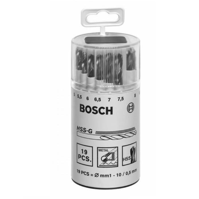 Набор сверл по металлу BOSCH 2607018361, HSS-G, 19 шт, d=1-10 мм, цилиндрический хвостовик