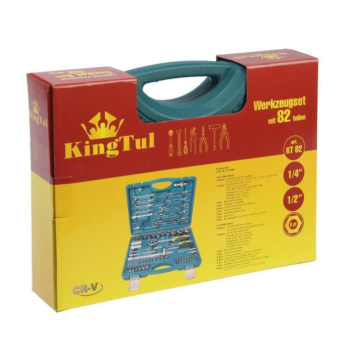 Набор инструментов KingTul, шестигранные головки, пластиковый кейс, 82 пр.