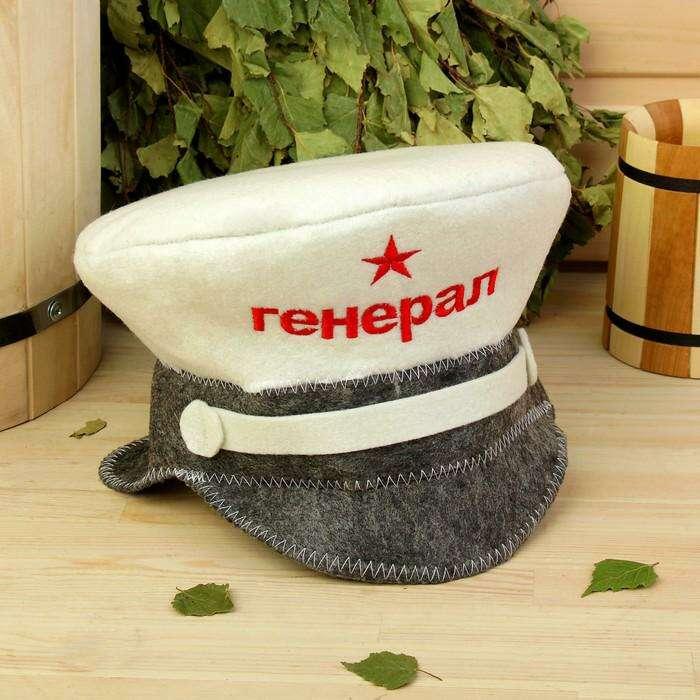 """Банная шапка """"Фуражка.Генерал"""", войлок, эконом"""