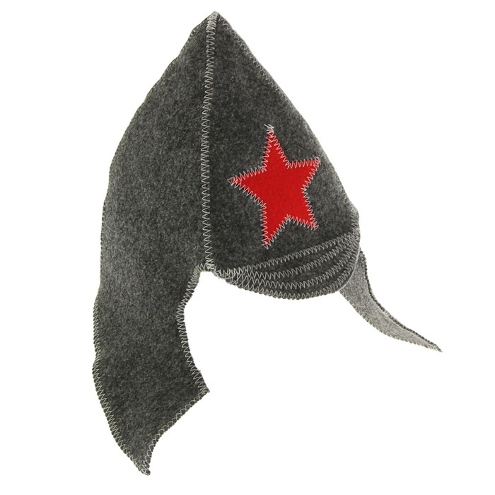 "Банная шапка ""Будёновка"", фетр серый ПРОМО"