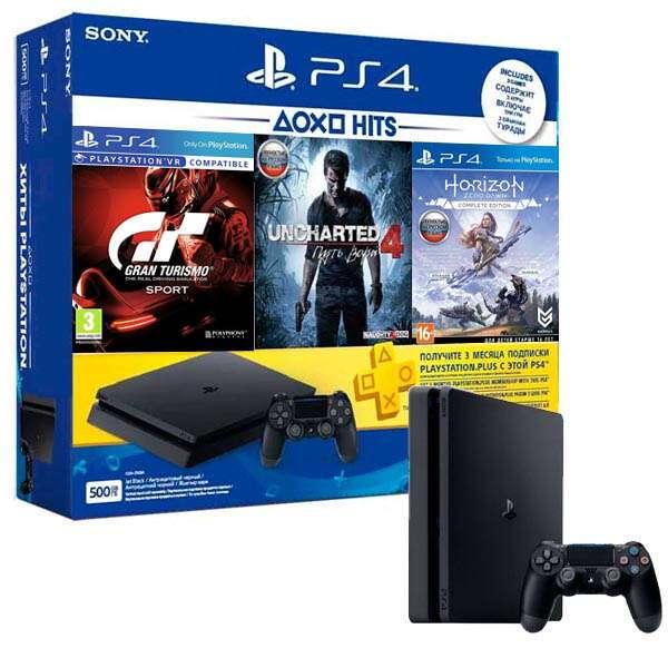 Игровая консоль PlayStation 4 Slim 500Гб в комплекте с 3 играми и подпиской PS Plus