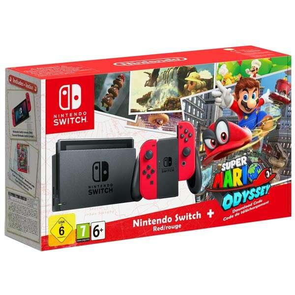 Игровая консоль Nintendo Switch (красный) + Super Mario Odyssey