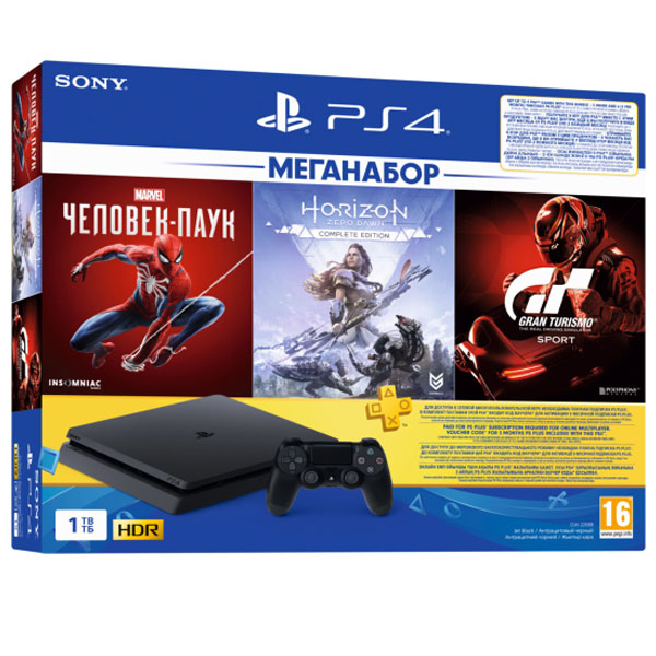 Игровая консоль Sony PS4 1TB GTS/HZD CE/SpiderMan+3M PS Plus (CUH 2208B)