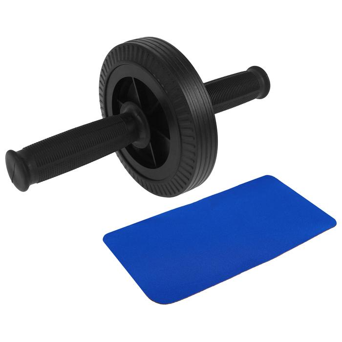 Ролик для пресса 1 колесо 27х14 см, с ковриком, цвет черный