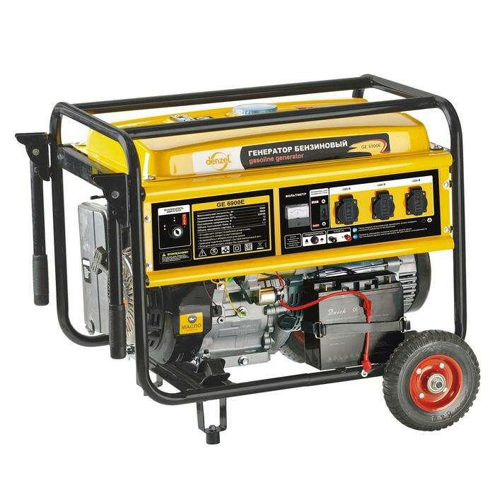 Генератор бензиновый DENZEL GE 6900E, 5.5 кВт, 220 В/50 Гц, 25 л, электростартер