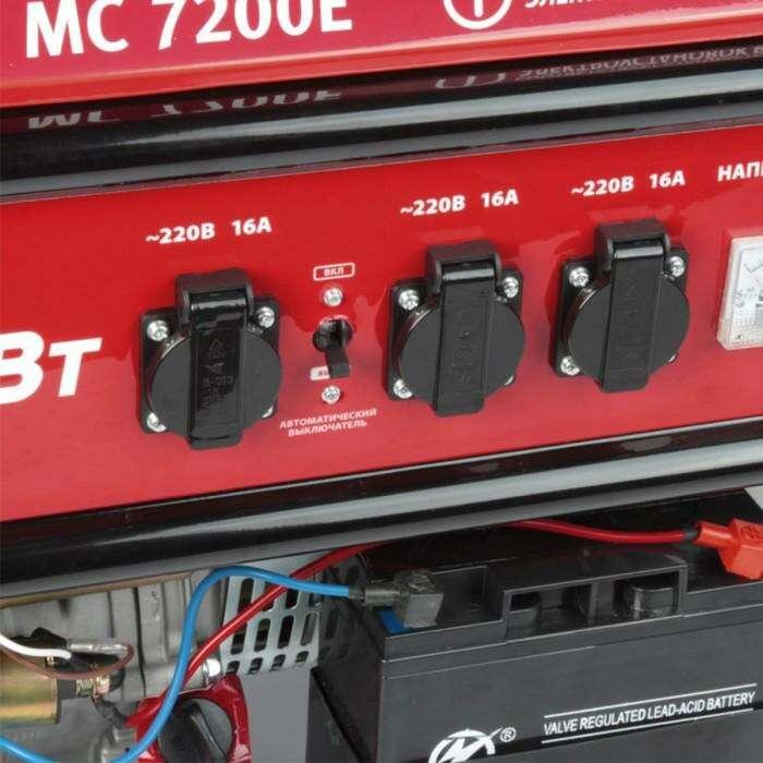 Генератор MAXCUT MC 7200E, бенз., 220В, 6.5/15 кВт/л.с., 25 л, ручной/электро стартер +АКБ