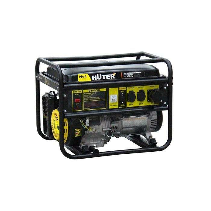Электрогенератор Huter DY9500L, бензиновый, 7500/8000 Вт, ручной стартер, 220 В, 25 л