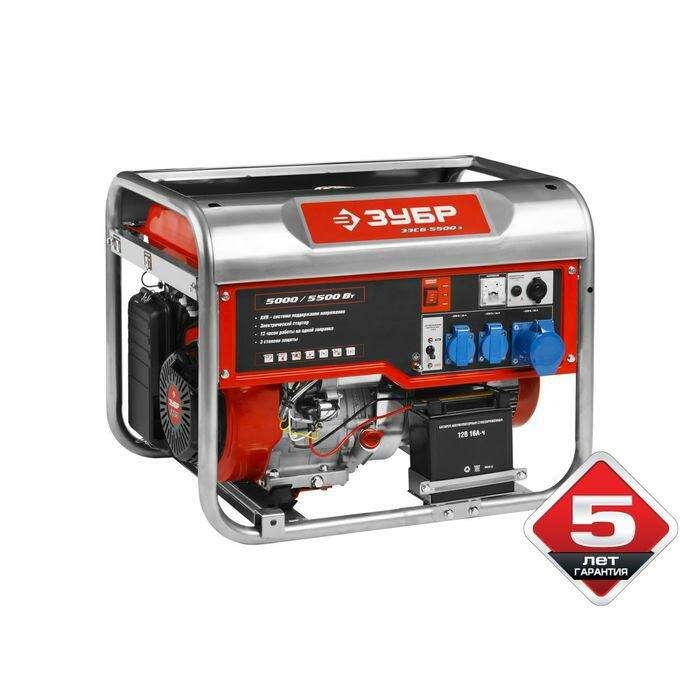 """Генератор """"ЗУБР"""" ЗЭСБ-5500-Э, бензиновый, 4Т, 5/5.5 кВт, 220/12 В, ручной/электропуск"""