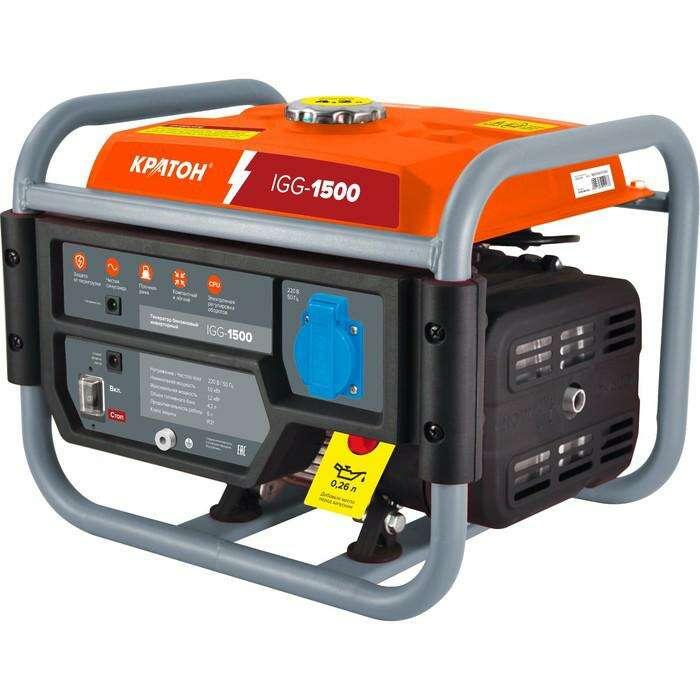"""Генератор """"Кратон"""" IGG-1500, бензиновый, 1/1.2 кВт,  220 В/50 Гц, 4.2 л, 87 см3"""