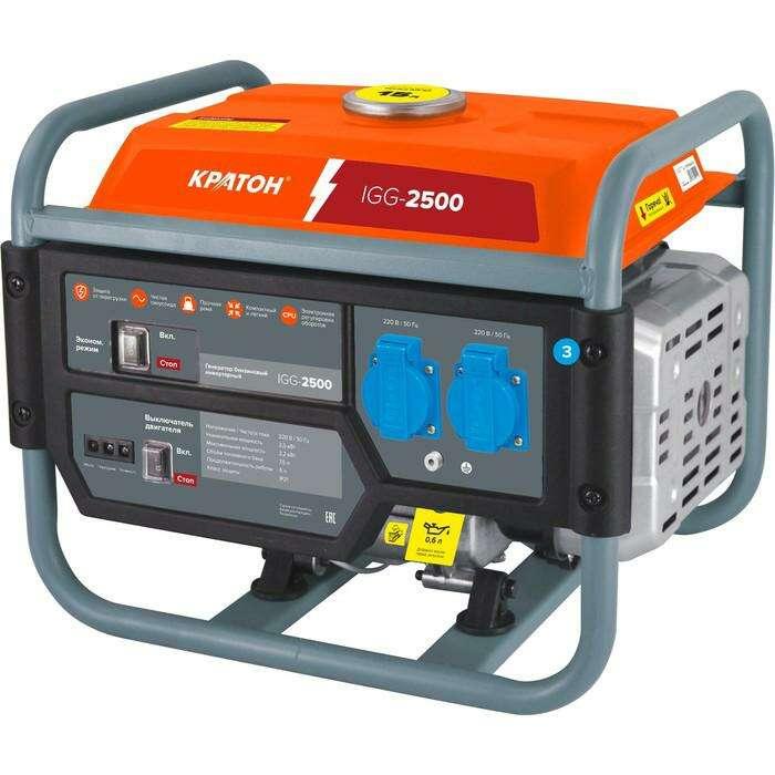 """Генератор """"Кратон"""" IGG-2500, бензиновый, 2/2.2 кВт, 220 В/50 Гц, 7.5 л, ручной старт"""