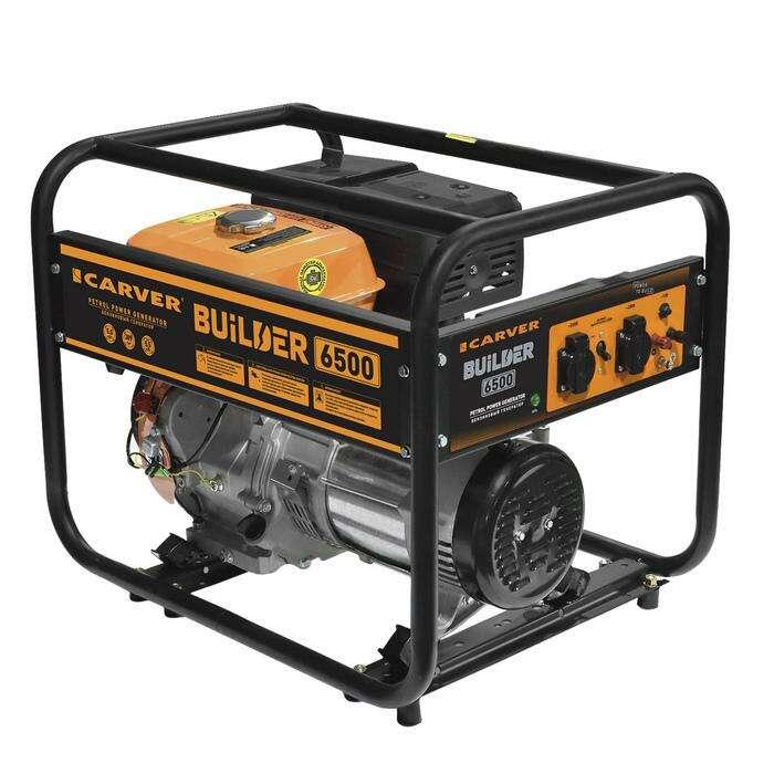 Генератор CARVER PPG-6500 BUILDER, бензиновый, 5/5.5 кВт, 220 В, 6.5 л, ручной старт