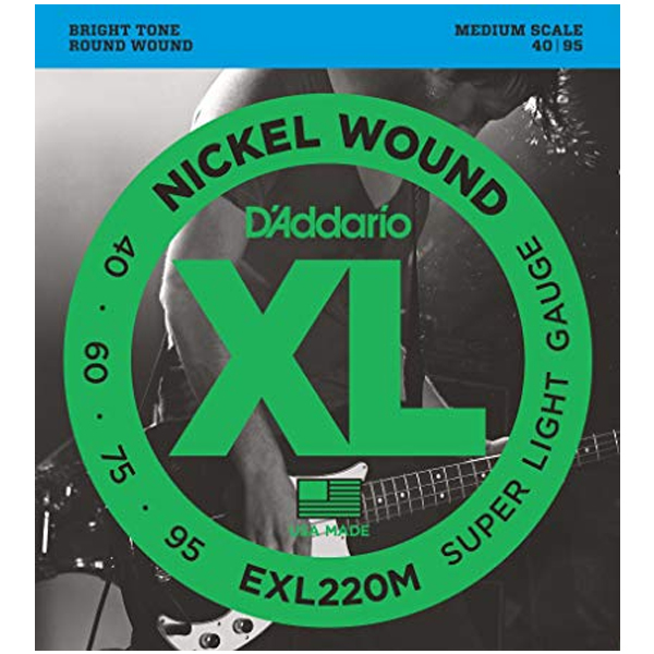 Струны для бас гитары D'Addario EXL220M Set Bass XL 40-95 Med Scale