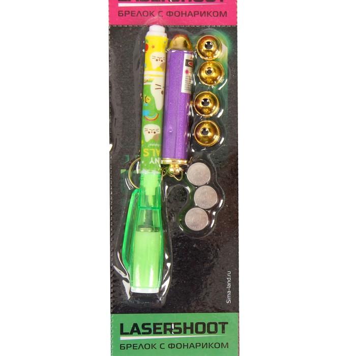 Фонарик лазер 5 насадок + маркер (паста светится в темноте) МИКС 13,2х2х1,3 см
