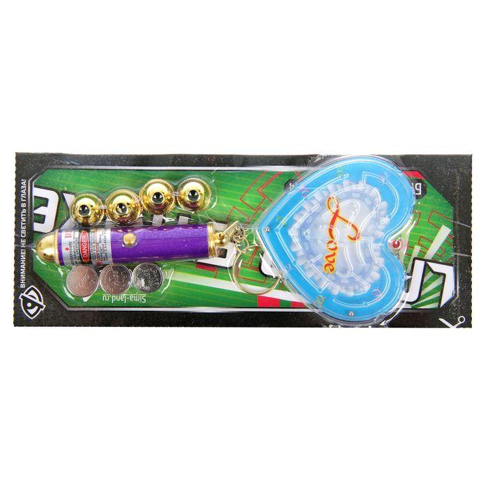 """Фонарик лазер 5 насадок + игрушка """"Лабиринт"""" сердце МИКС 17х7 см"""