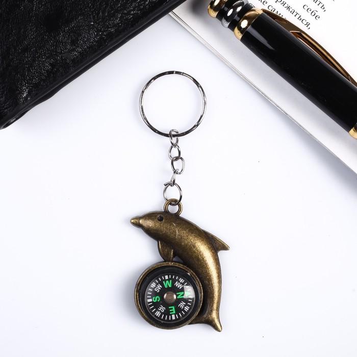 """Брелок металл """"Дельфин с компасом"""" 3,8х3,5х0,8 см"""