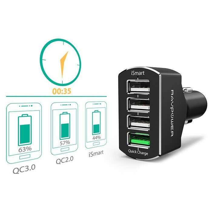 Автомобильное зарядное устройство Ravpower RP-VC003 Quick Charge 3.0, Черный