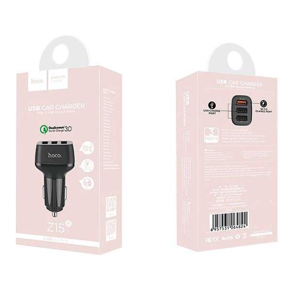 Автомобильное зарядное устройство Hoco Z15B Kuso QC3.0 Black